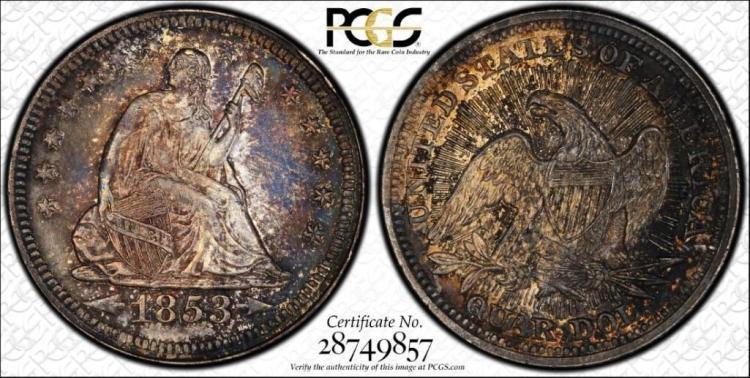 AU+ PCGS 1853 Rays Arrows Silver Quarter Coin