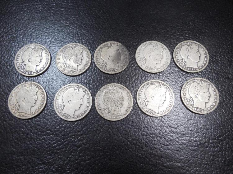 Group Lot of 10 Silver Barber 1/2 $1 Coins