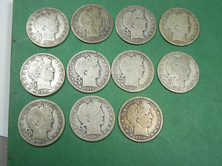 Group Lot of 11 Silver Barber 1/2 $1 Coins