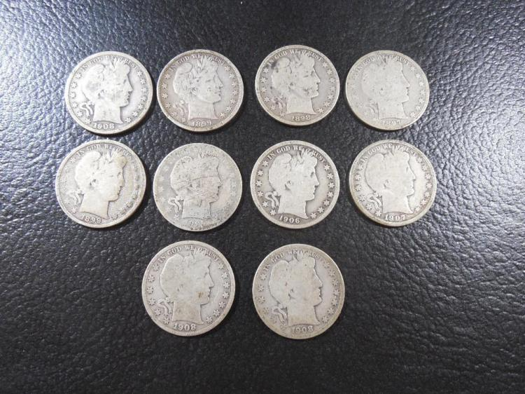 Group Lot 10 Barber Silver 1/2 $1 Coins