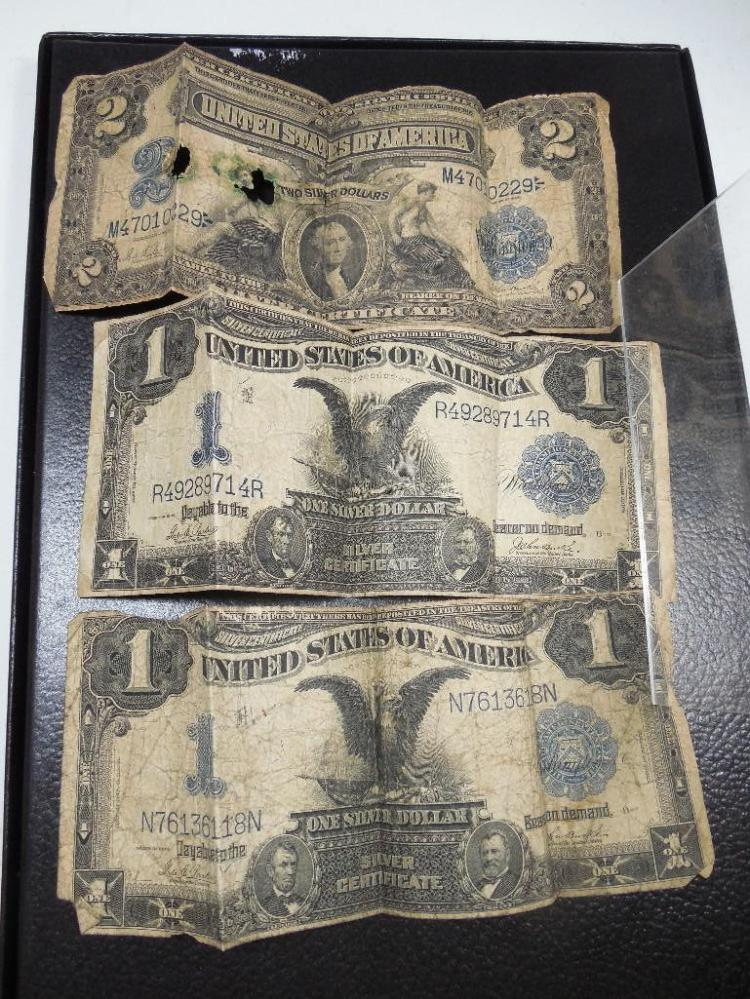 3 Early US Silver Certificates 2 $1 and 1 $2