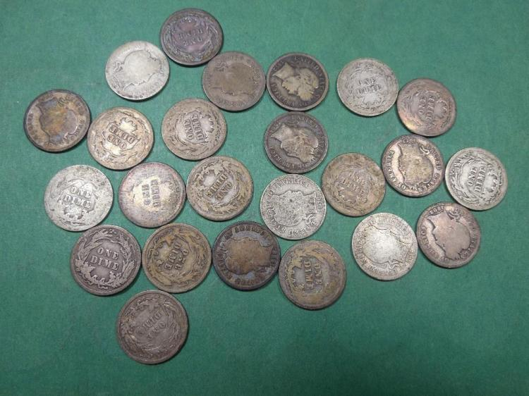 Group Lot of 24 Barber Dime Coins