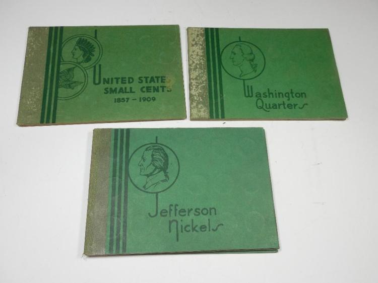 3 Albums w/Coins - Silver Quarters, Eagle/IH Cents