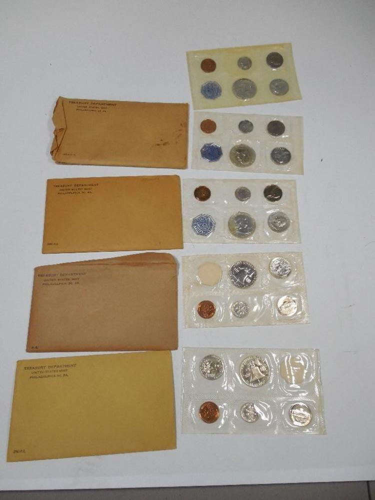 Group of 5 Silver Mint Sets Inc. 1/2s