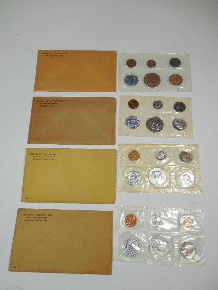 Group of 4 Silver Mint Sets Inc. 1/2s