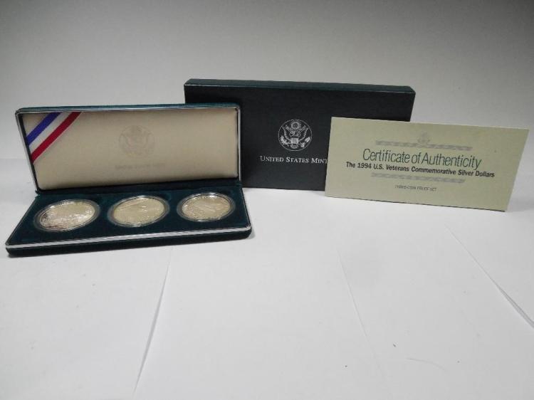1994 Veteran Silver Dollar Set of 3 Mint Coins