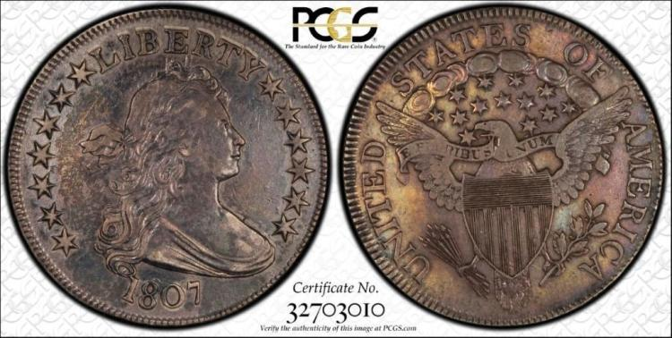 PCGS VF30 Draped Bust 1807 50C US Silver Coin