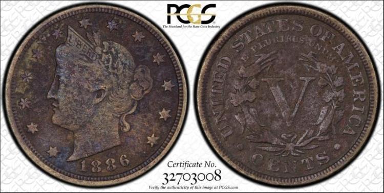 PCGS Genuine VF 1886 5 C Liberty Nickel