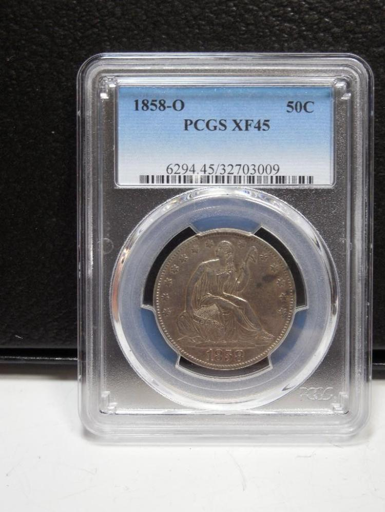 PCGS XF45 1858-O 50C US Silver Coin