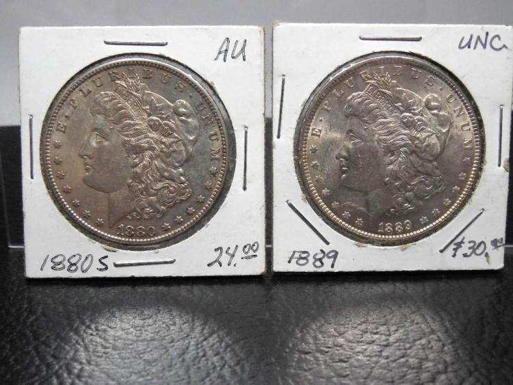 2 AU+ Morgan Silver Dollar Coins