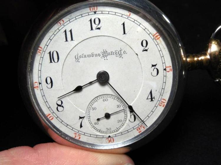 Rare Columbus Pocket Watch Sterling Tri-Tone