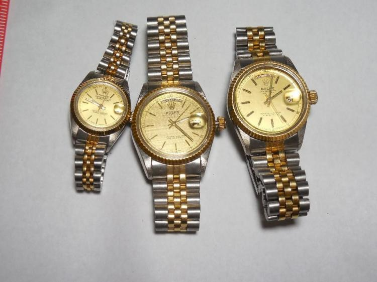 Group Lot of 3 Repro Rolex Watches - Date Justs