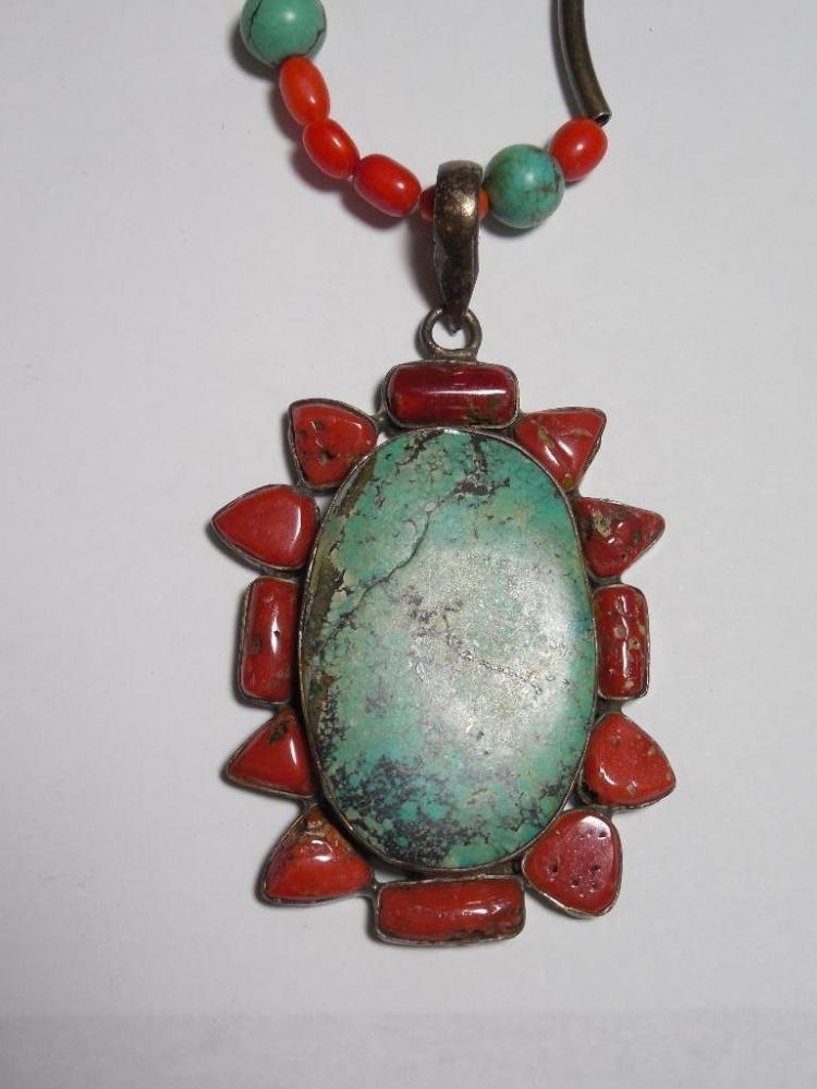 Turquoise Coral Native American Pendant, Necklace