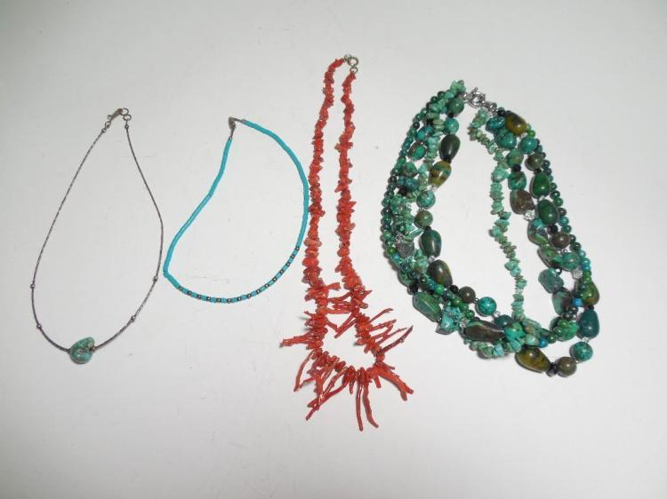 Group 4 Turquoise Coral Necklaces Native American