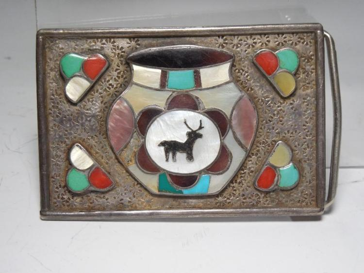 Sterling Silver Native American Belt Buckle