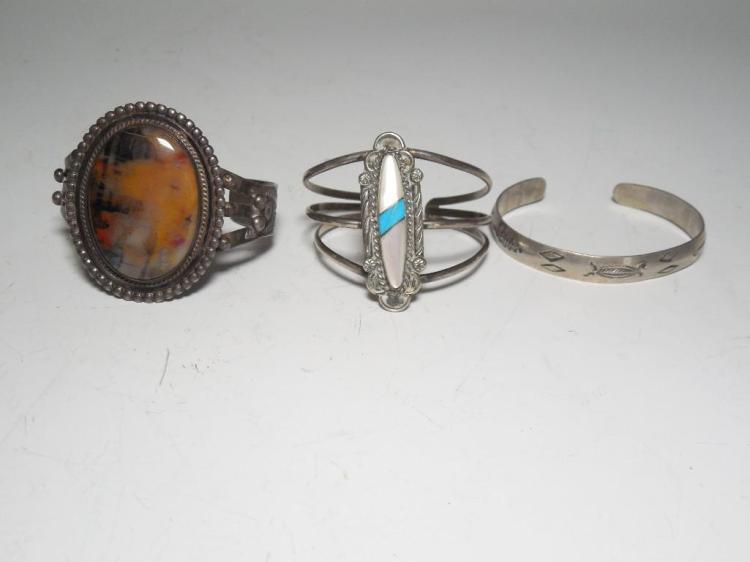 Group Lot 3 Native American Sterling Bracelets