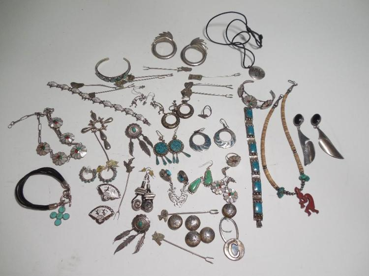 Huge Lot Sterling Silver Native American Jewelry