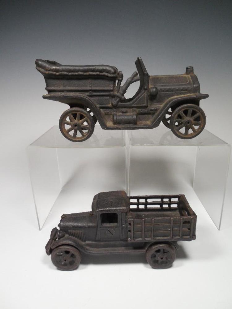 2 Cast Iron Toys Car Truck Large Size