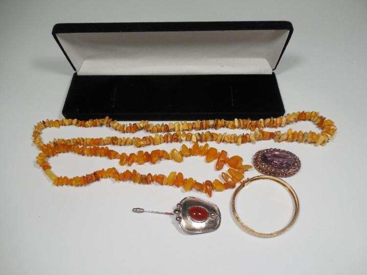 Group Lot Antique Jewelry Inc. Victorian, Amber