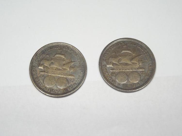 2 Silver 1893 Exposition Half Dollars 1892-93