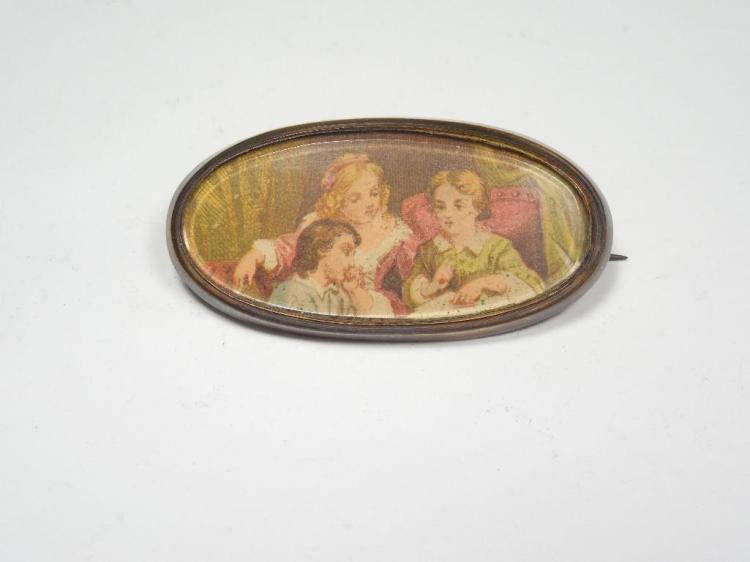 Unusual Antique Brooch Pin Gold Filled w/Picture