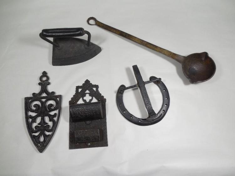 Antique Metal Ware Lot Inc. Match Safe, Iron