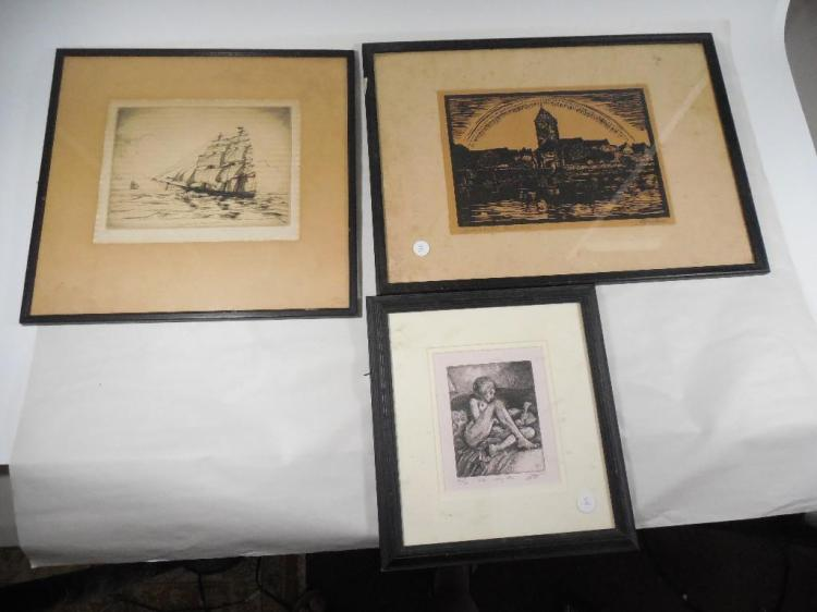 Group Lot of Framed Art Inc. Etching, Woodcut etc
