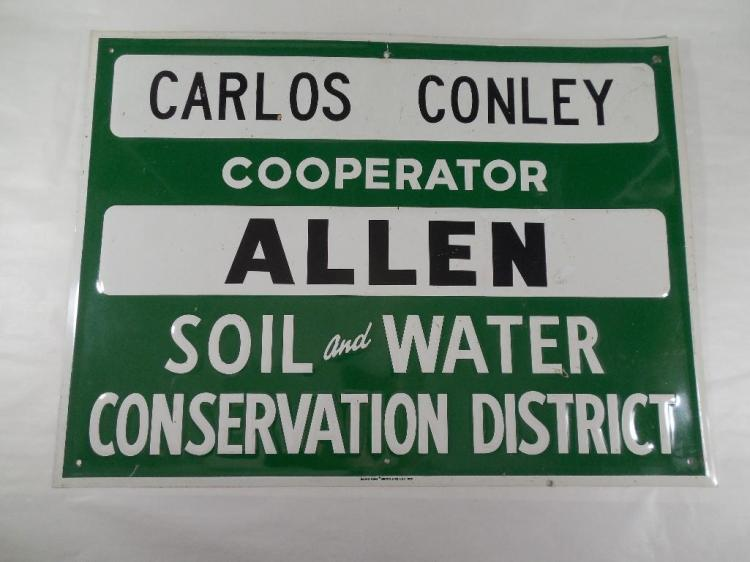 Vintage Allen County Ohio Farming Related Sign