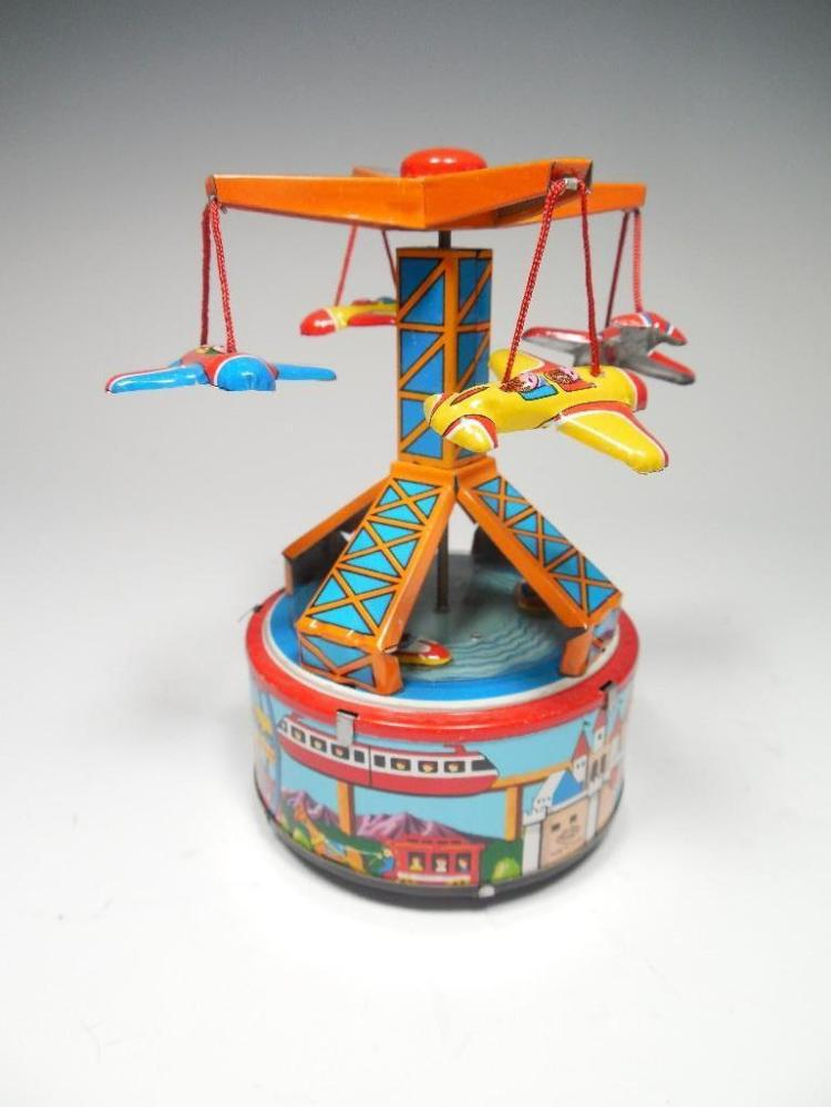 Vintage Toy Carnival Ride Planes Spinning Tin