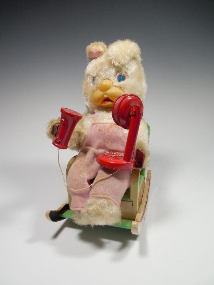 Vintage Battery Op Toy Bear in Rocker w/Phone