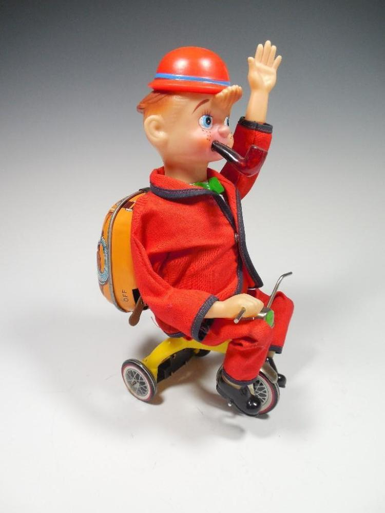 Vintage Battery Op Toy Pipe Smoker on Tricycle