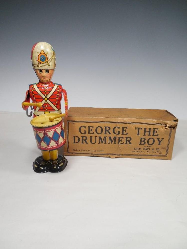 Antique George Drummer Boy Wind up Toy in Box