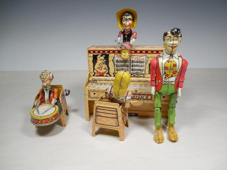 Rare Lil Abner Dog Patch Band Wind Up Toy Set