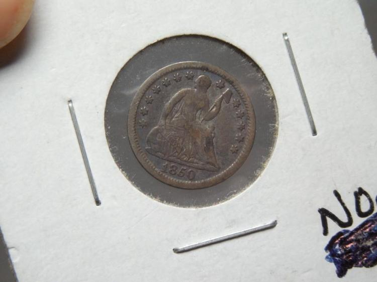 Nice Condition 1850 Half Dime Silver Coin Toned