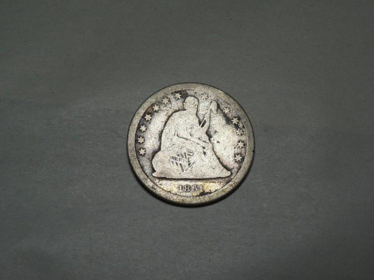 Civil War Era 1861 Quarter Silver Coin