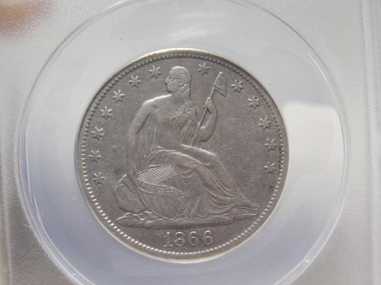 Very nice 1866 Silver Coin 50 Cent Piece VF