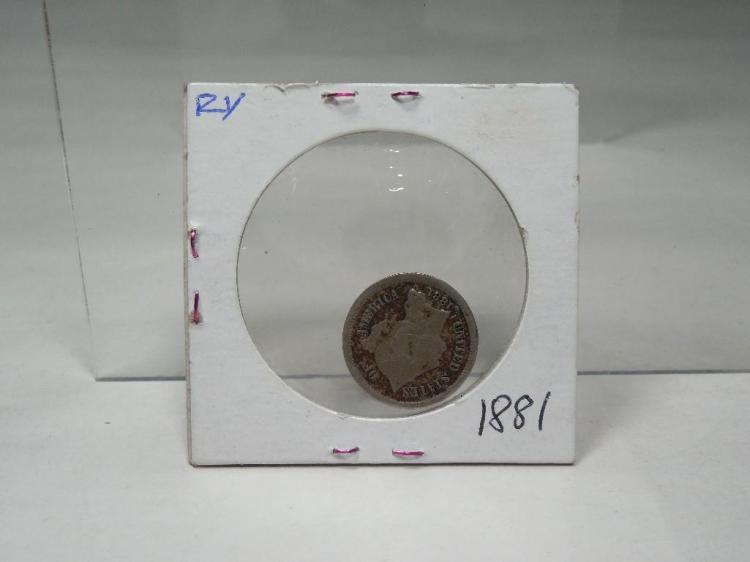US Coin 1881 Three Cent Piece Nickel