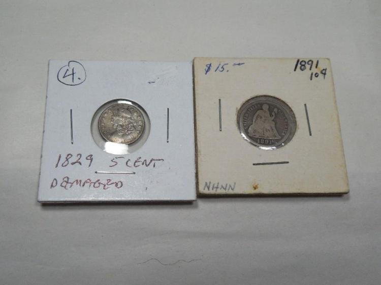 2 US Type Coins Inc. 1829 5 Cent + 1891 10c
