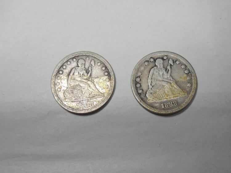 2 Early Silver US Coins Quarters 1858, 1888