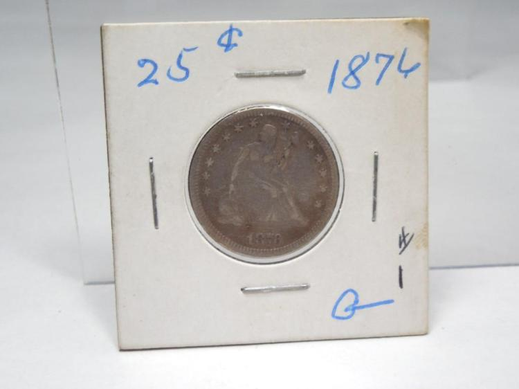 1876 US Silver Coin Quarter Seated Liberty
