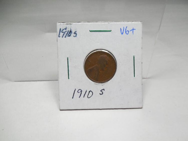 1910S VG+ Lincoln Cent Wheat Penny Coin