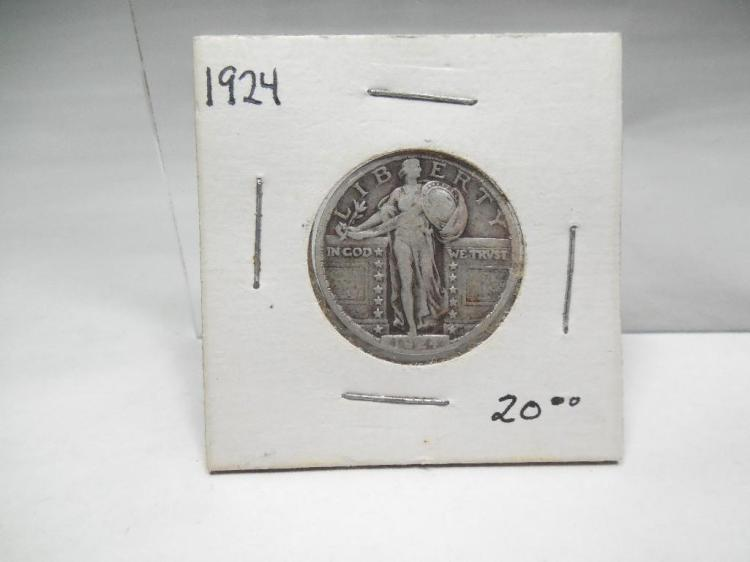 1924 Walking Liberty Quarter Silver Coin