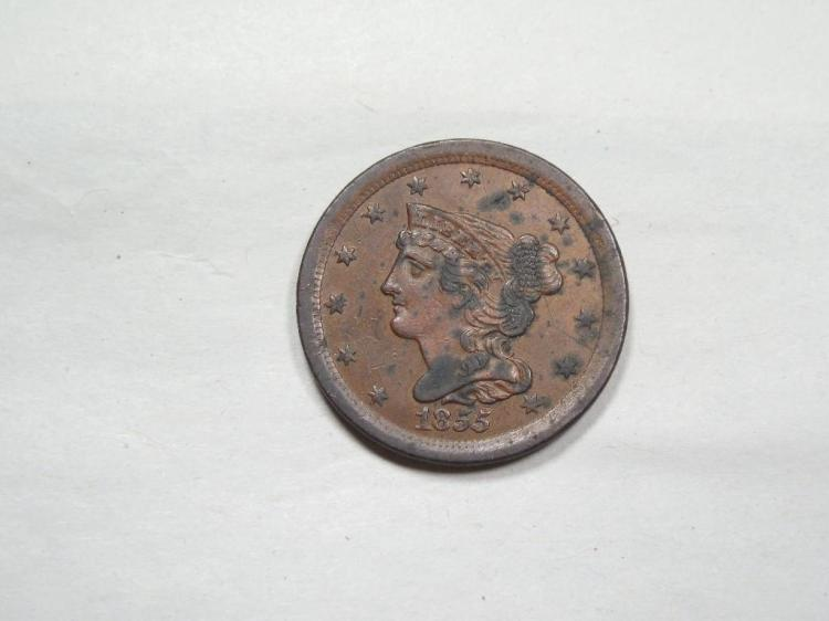 Nice Cond. 1855 US Large Cent Coin