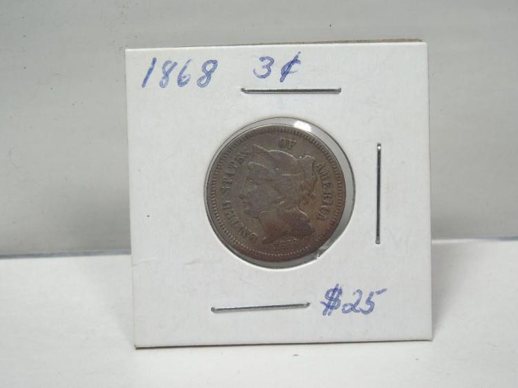 1868 3 Cent Coin Nickel Piece
