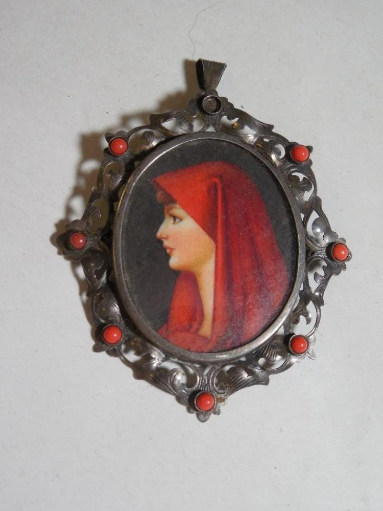 Hand Painted Portrait Brooch in 800 Silver