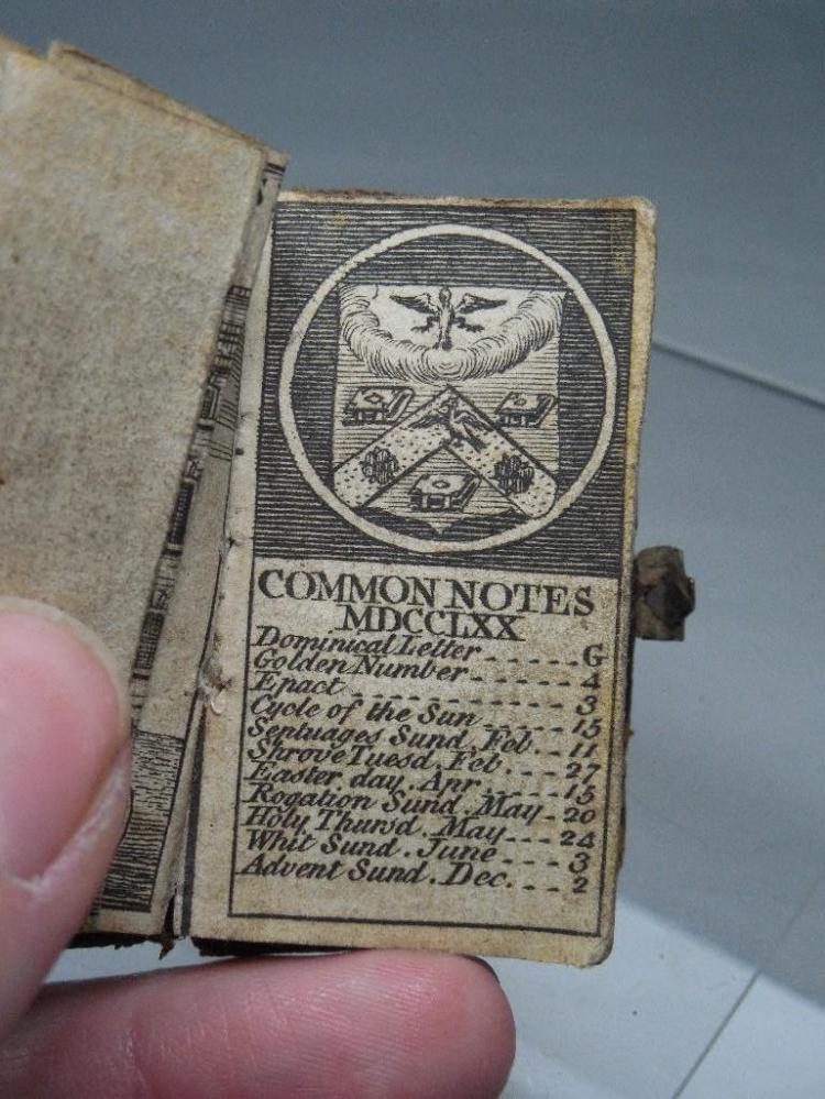 1770 Rare Tiny Pocket Almanac South Sea House