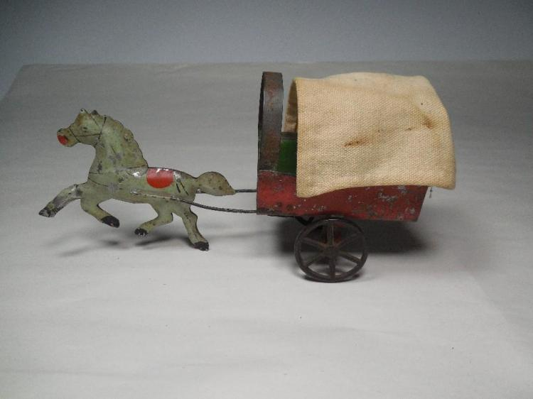 Rare Early Tin Toy Horse Pulling Covered Wagon