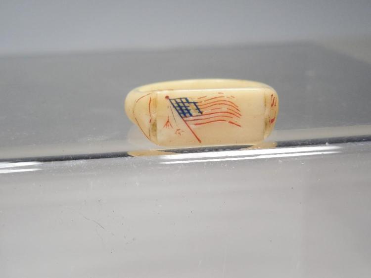 Unusual Civil War Carved Ring w/Flag US