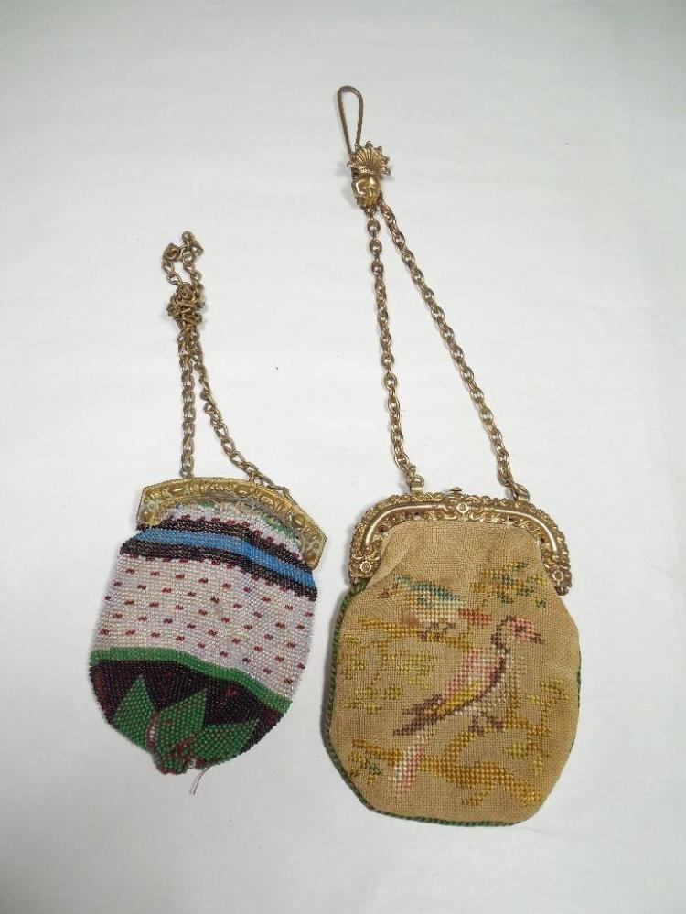 2 Early Lady's Beaded/Woven Bags w/Pretty Designs