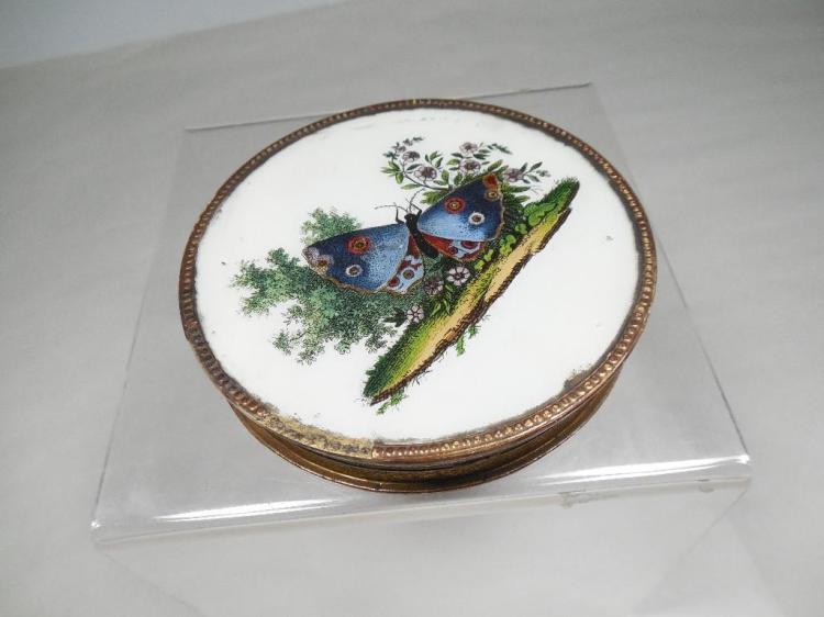 c. 1810 paper, Glass Trinket Box w/Butterfly
